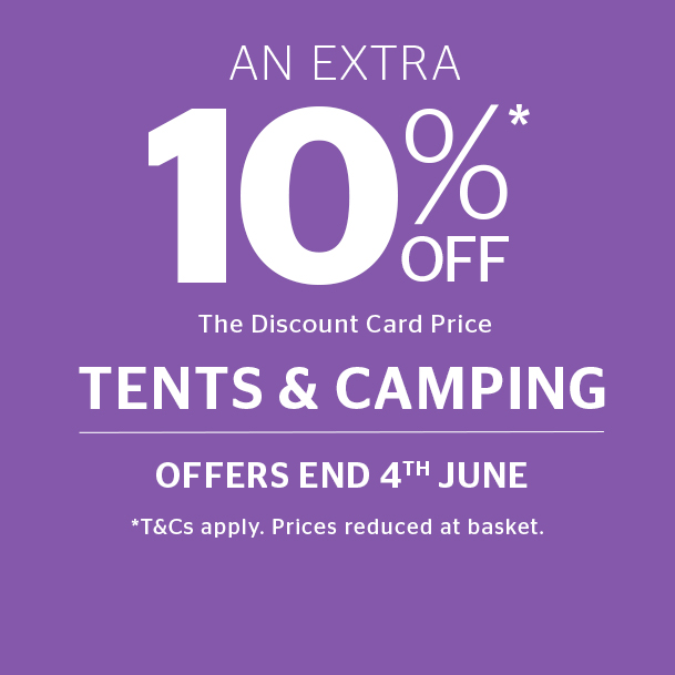 Shop 10% off Tents and Camping