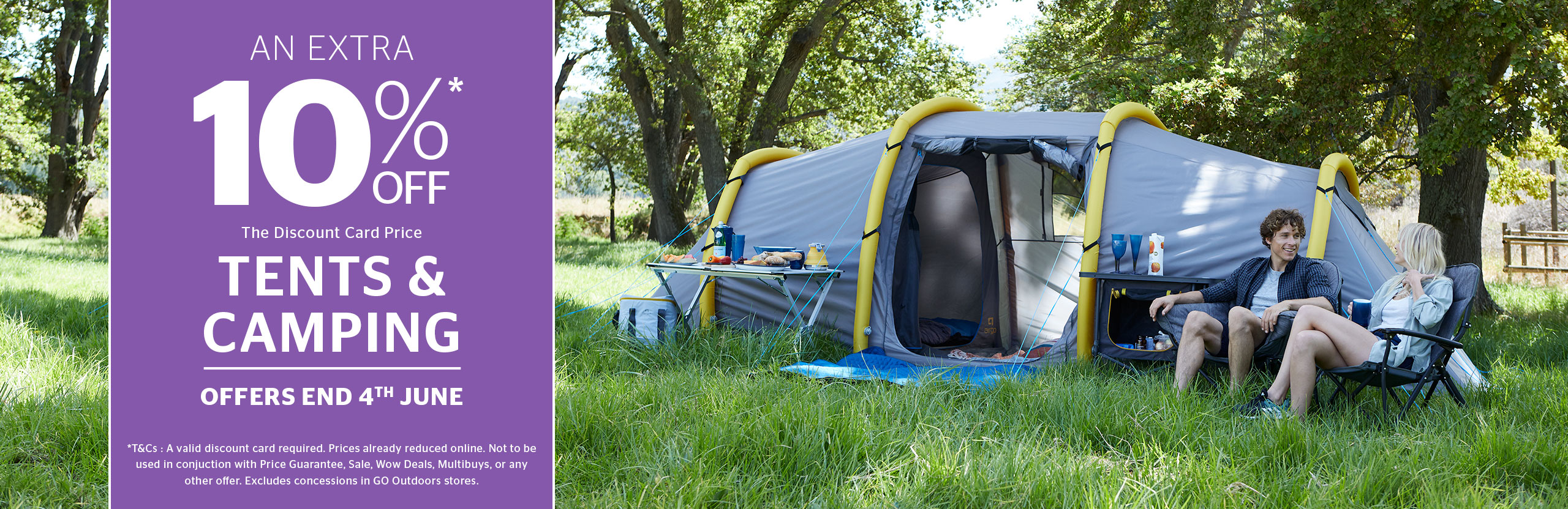 10% Off Tents & Camping
