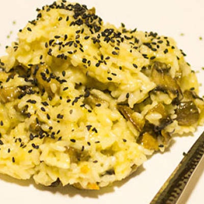 Risotto with Soft Cheese & Mushrooms